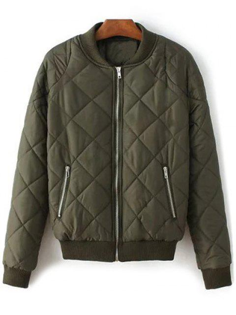 hot Argyle Stand Neck Solid Color Jacket - ARMY GREEN M Mobile