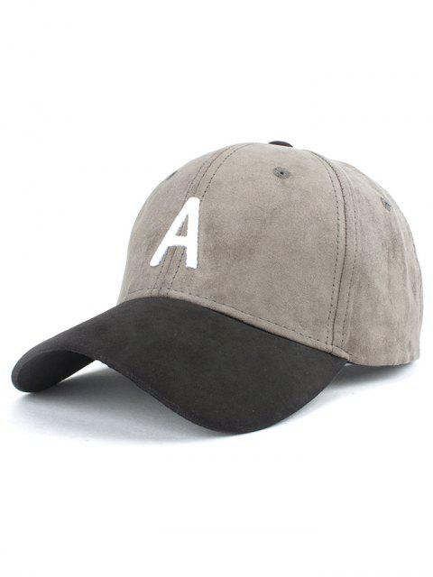 latest Letter Embroidery Suede Baseball Cap - GRAY  Mobile