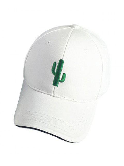 trendy Cactus White Baseball Cap - WHITE  Mobile