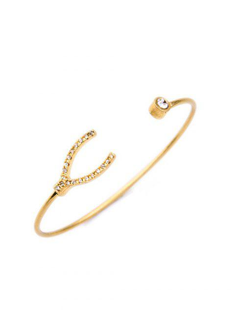 lady Rhinestone Gold Plated Cuff Bracelet - GOLDEN  Mobile