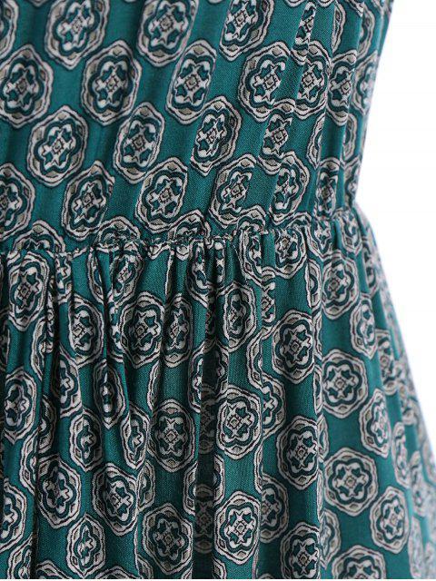 ladies Spaghetti Strap Tie-Up Floral Print Maxi Dress - GREEN M Mobile