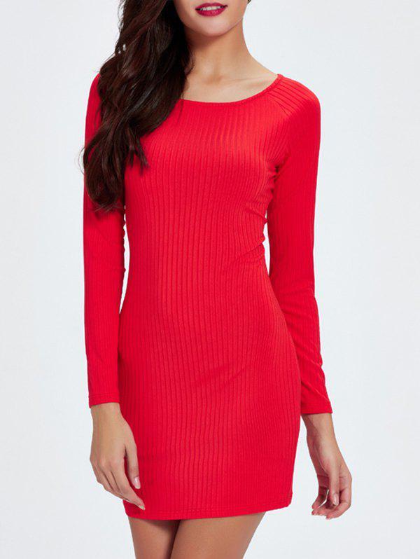 Ribbed Knit Long Sleeve Bodycon Dress 190438501