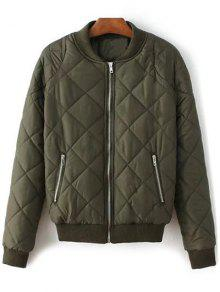 Argyle Stand Neck Solid Color Jacket - Army Green S