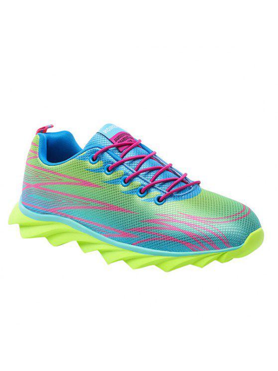 أزياء الدانتيل متابعة واللون الربط تصميم أحذية رياضية للرجال - نيون الخضراء 42