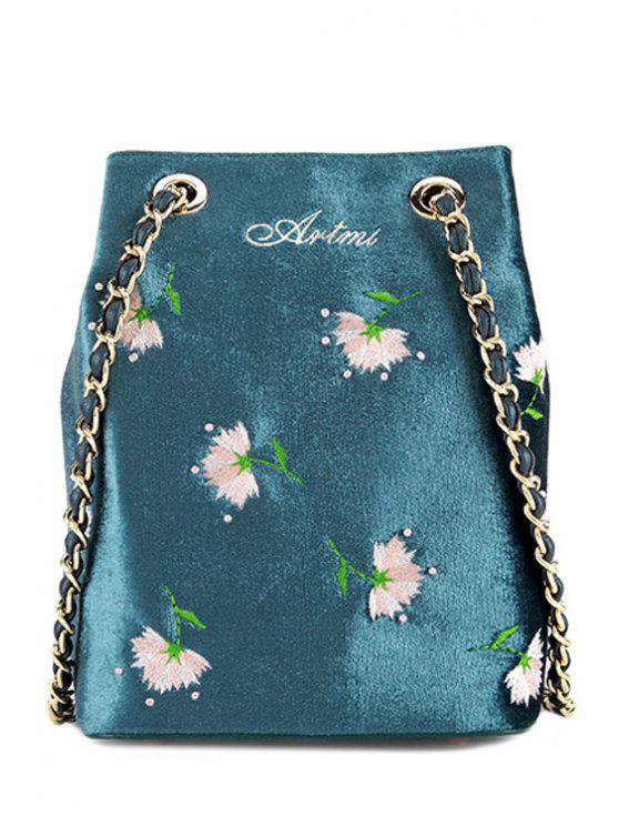 Floral Velour Crossbody Bag - Blu