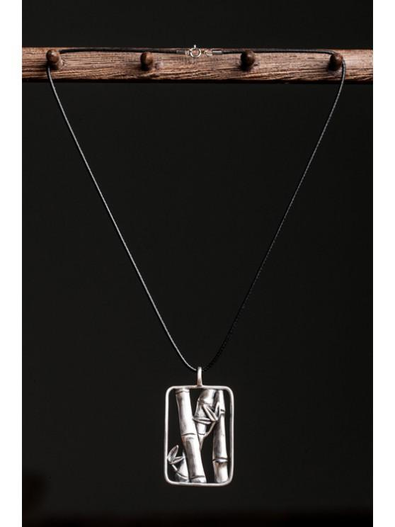chic Chic Bamboo Rectangle Pendant Sweater Chain - BLACK