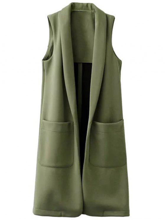 online Pockets Turn-Down Collar Long Waistcoat - GREEN S