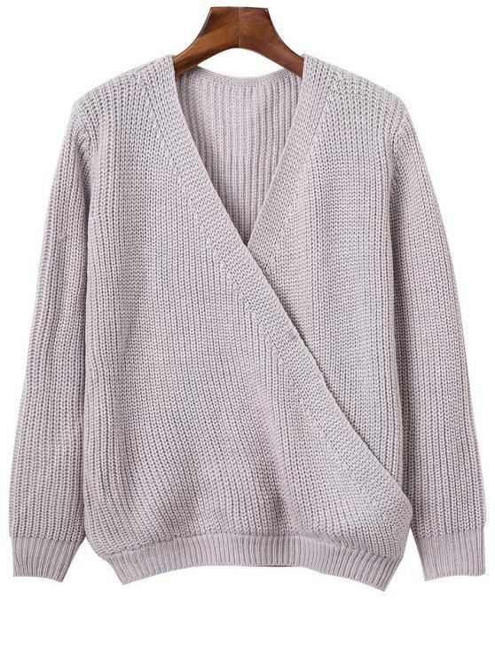 Col en V à manches longues Crossed Sweater - Gris Clair Taille Unique