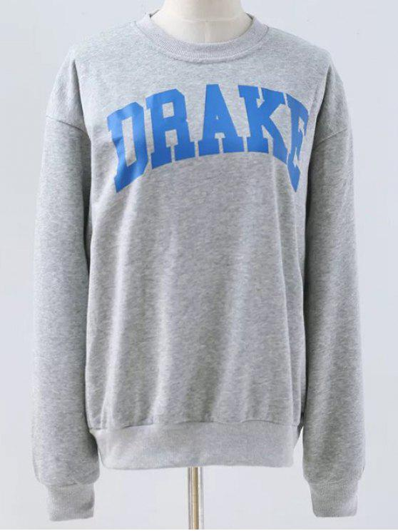 outfit Letter Pattern Round Neck Sweatshirt - LIGHT GRAY M