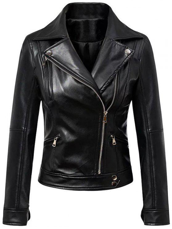 Negro de cuello solapa imitación de cuero inclinado de la cremallera de la chaqueta - Negro L
