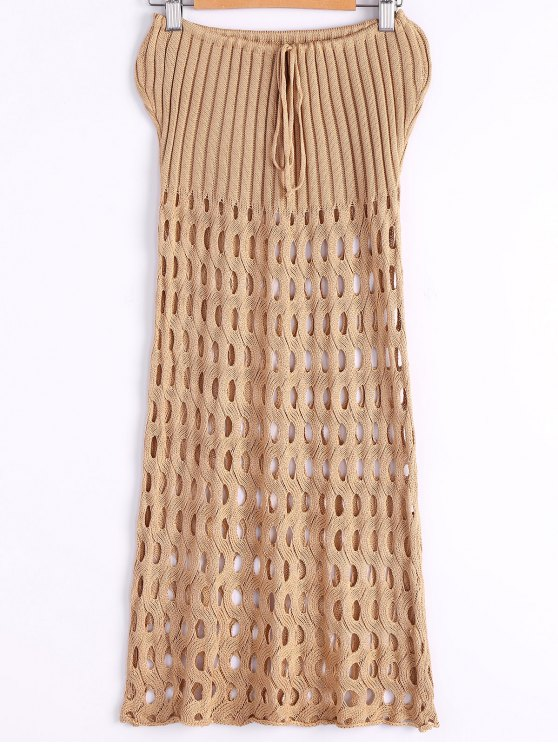 lady Crochet Hollow Strapless Cover-Up Dress - EARTHY ONE SIZE(FIT SIZE XS TO M)