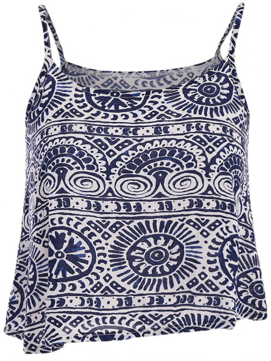 shop Round Pattern Stripe Print Tank Top - BLUE AND WHITE S