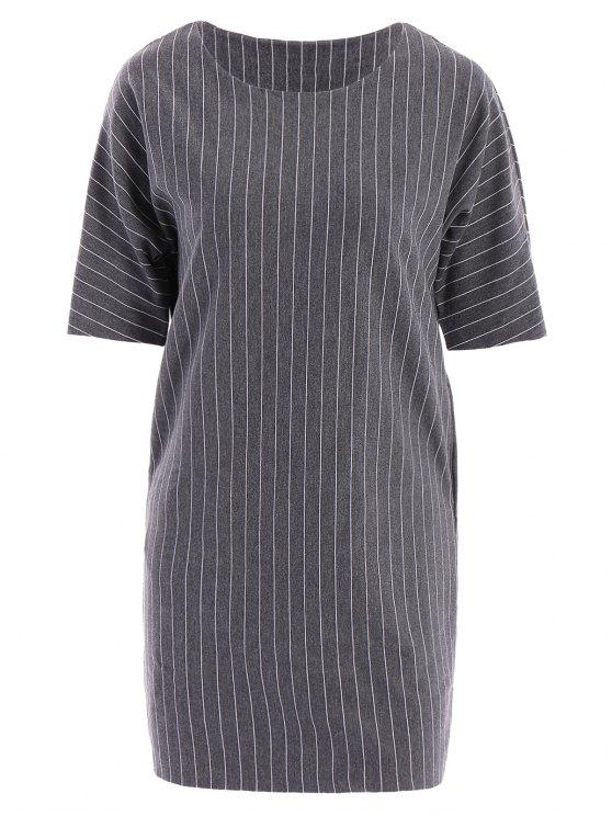 fancy Stripe Short Sleeve Dress - DEEP GRAY ONE SIZE(FIT SIZE XS TO M)