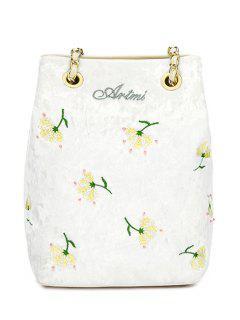 Floral Velour Crossbody Bag - White