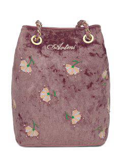 Floral Velour Crossbody Bag - Deep Pink
