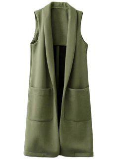 Pockets Turn-Down Collar Long Waistcoat - Green S