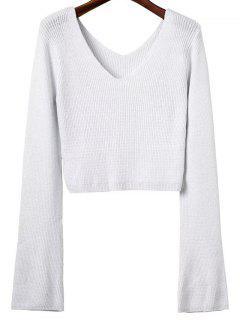 Crop Pullover Mit Trompeten Hülsen Und V-Ausschnitt  - Weiß