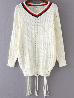 Col En V à Manches Longues Color Block Sweater - Blanc