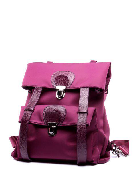 fancy Nylon Splicing Backpack - PURPLE  Mobile