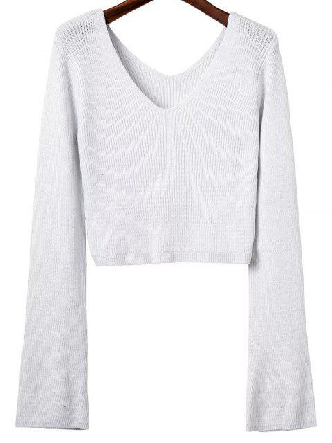 fashion V Neck Flared Sleeve Cropped Sweater - WHITE ONE SIZE Mobile