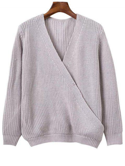 Col en V à manches longues Crossed Sweater - Gris clair Taille Unique Mobile