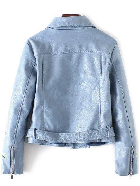womens Embroidered Lapel Collar Faux Leather Jacket - AZURE S Mobile