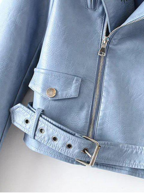 buy Embroidered Lapel Collar Faux Leather Jacket - AZURE M Mobile