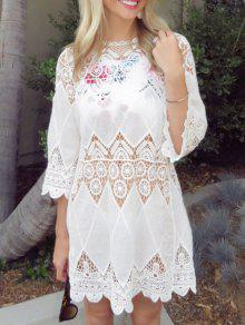 Openwork Appliqued Crochet Cover-Up - White