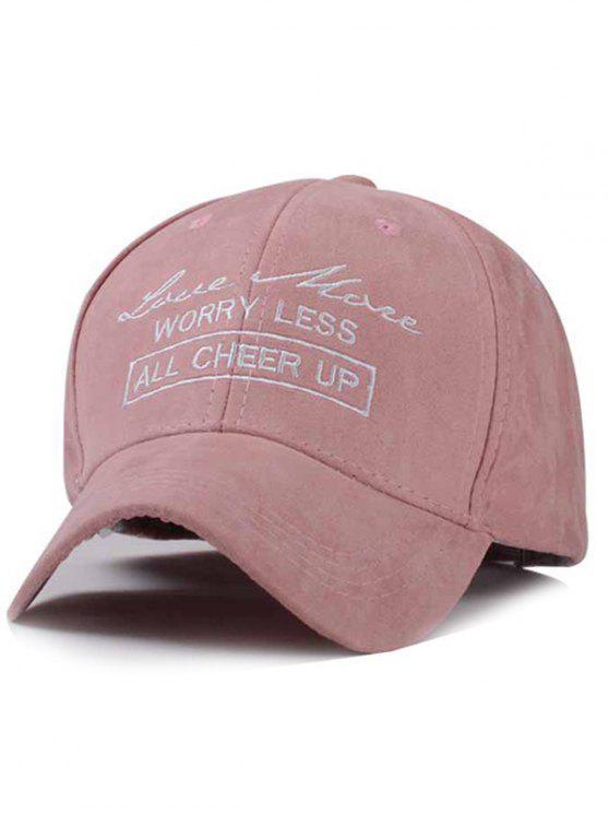 casquette de baseball en faux suede imprimé en lettres - ROSE PÂLE