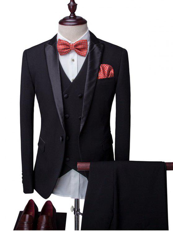 online One-Button Breast Pocket Lapel Long Sleeve Three-Piece Suit ( Blazer + Waistcoat + Pants ) For Men - BLACK L