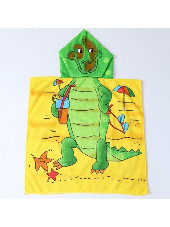 لطيف الكرتون الديناصور والشاطئ نمط مقنعين منشفة الشاطئ للأطفال - الأصفر