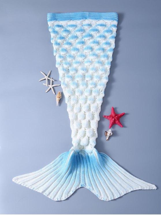 بطانية ميرميد محبوك أنيق للأطفال - ازرق وابيض