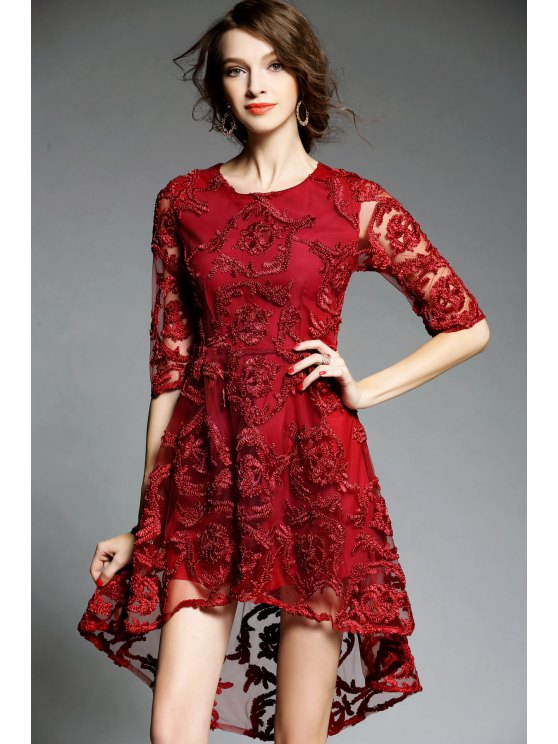 8e9042a7ebae 31% OFF  2019 High Low See Thru Swing Dress In RED