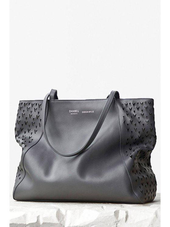 حقيبة كتف كبيرة مجوفة من الجلد - اللون الرمادي