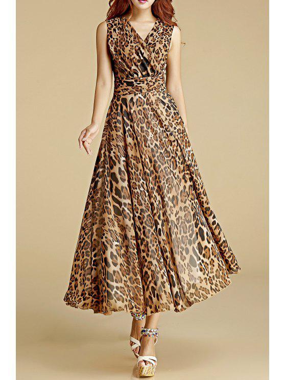 Crossed Leopard Print Chiffon Dress LEOPARD: Maxi Dresses M | ZAFUL