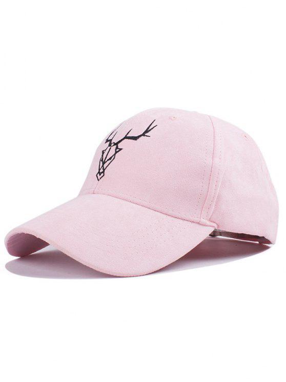 women's Elk Head Faux Suede Baseball Hat - PINK
