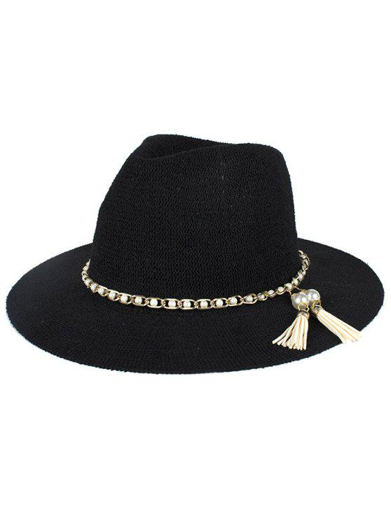 outfit Faux Pearl Tassel Sun Hat - BLACK