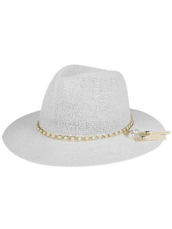 outfits Faux Pearl Tassel Sun Hat - WHITE