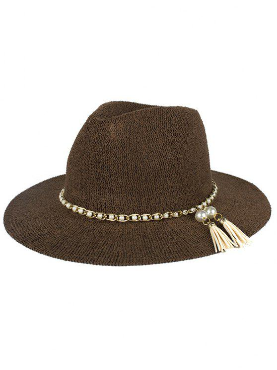 shop Faux Pearl Tassel Sun Hat - COFFEE