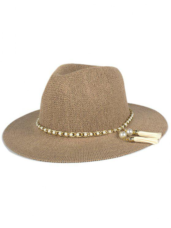 shops Faux Pearl Tassel Sun Hat - KHAKI