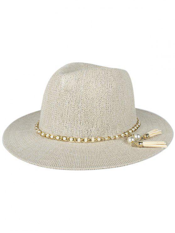 latest Faux Pearl Tassel Sun Hat - OFF-WHITE