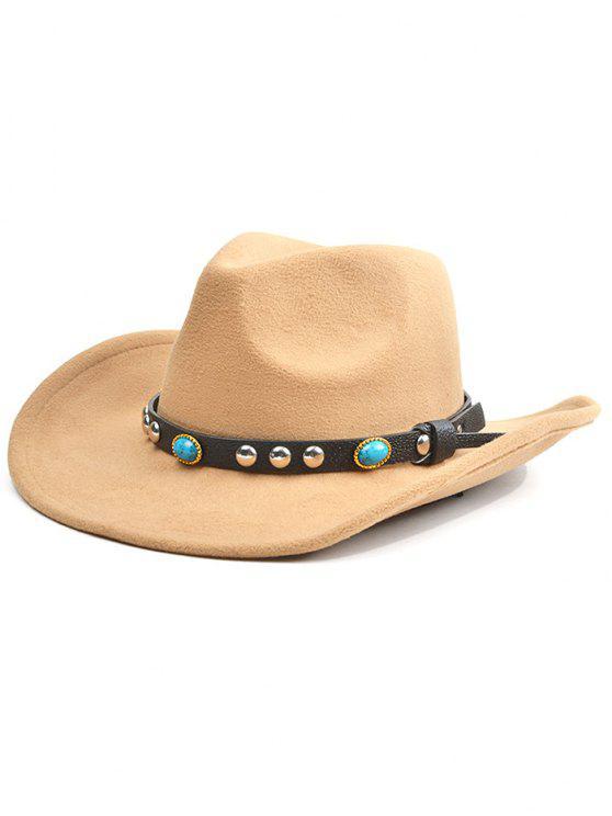 fashion Rivet Belt Faux Suede Cowboy Hat - LIGHT KHAKI