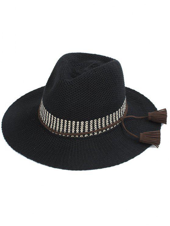 sale Tassel Lace-Up Sun Hat - BLACK