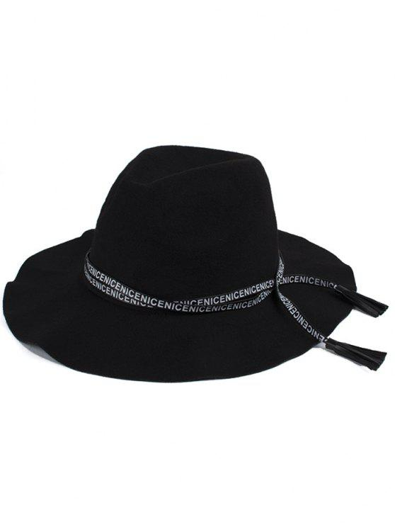 affordable Letters Lace-Up Black Jazz Hat - BLACK