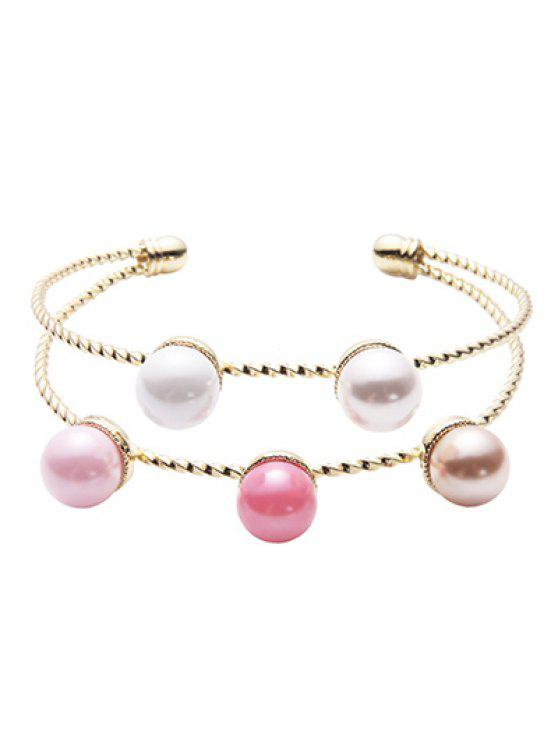 latest Layered Artificial Pearl Bracelet - GOLDEN