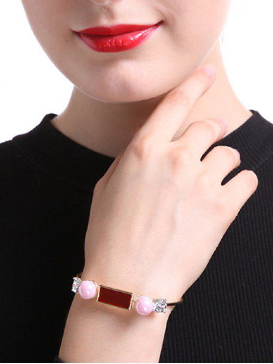chic Rectangle Faux Pearl Bracelet - GOLDEN