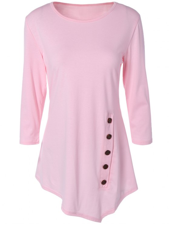outfits Buttoned Three Quarter Sleeve Blouse - PINK L