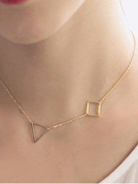 womens Hollowed Triangle Square Necklace - GOLDEN