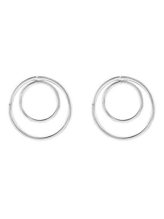 ladies Minimalist Design Circles Earrings - SILVER