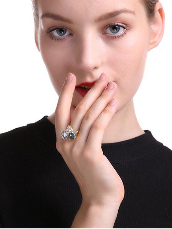 shop Rhinestone Triangle Ring - GOLDEN ONE-SIZE